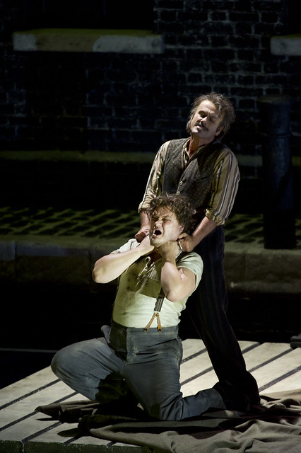 "Lucio Gallo as Michele and Aleksandrs Antonenko as Luigi in Richard Jones' production of Il Tabarro. The Royal Opera Season 2011/12. <a href=""http://www.roh.org.uk"" rel=""nofollow"">www.roh.org.uk</a>  Photo by Bill Cooper"
