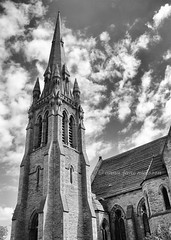 Welsh Presbyterian Church (.annajane) Tags: uk england bw church clouds liverpool spire merseyside toxteth princesavenue toxtethcathedral