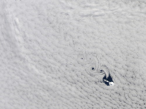 Cloud vortices off Heard Island