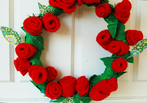 Recycled Wool Rose Wreath