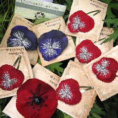 Custom Accessories for Tanya's wedding. (Wychbury Designs) Tags: wedding flower hair embroidery pansy pins textile fabric poppy accessories bridal custom brooches folksy favours