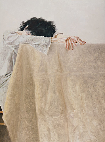 Arikha, Avigdor (1929-2010) - 1977 Anne Leaning on a Table (Los Angeles County Museum of Art, USA)