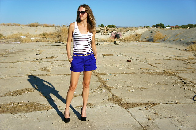 Blue shorts and stripe tank