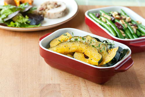Roast Squash and Green Beans