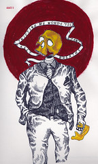 AJW56.2 (adamwallace) Tags: red portrait white black face yellow collage ink dark watercolor skeleton skull words scary hand sketchbook creepy suit figure hanging twisted noose suffocation