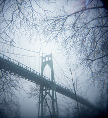 Upon the cusp of the days (Zeb Andrews) Tags: blue winter film oregon square portland holga gothic foggy pacificnorthwest chilly sjb barebranches stjohnsbridge suspensionbridges bluemooncamera