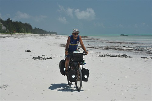 Beach cycling at low tide