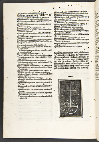 Colophon and printer's device in Petrus Lombardus: Sententiarum libri IV