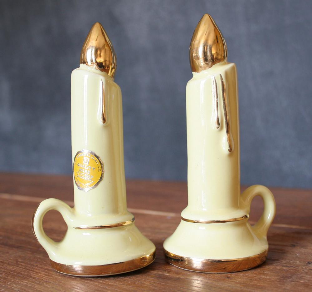 Vintage Jeannette Glass 22K Gold Decorated Candle Stick Salt and Pepper Shaker Set