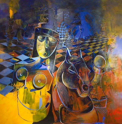 Queen with Horse - Painting - Cubism