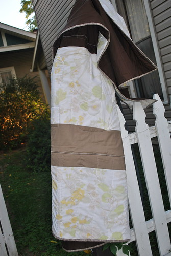 Exodus Quilt Back: Kona stripes plus vintage sheet