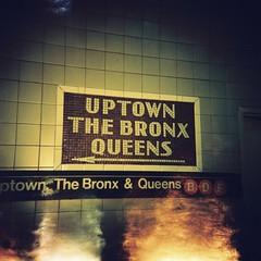 Uptown (iainbaughen) Tags: nyc newyork 120 sign wall america train mediumformat subway holga lomo xpro fuji cross metro bronx text transport queens uptown tiles mta provia processed