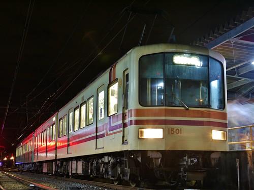 江ノ電1501F+1002F稲村ヶ崎行き最終電車@長谷
