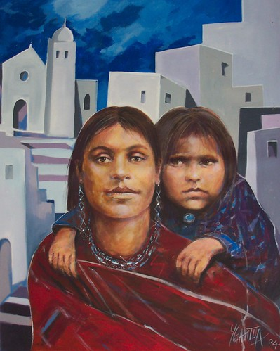 Mexican Natives with Church - Painting - Impressionism