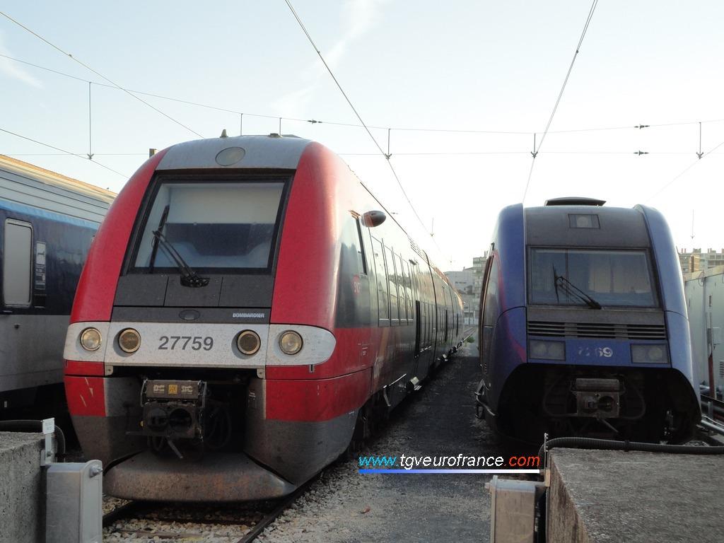 Un Autorail à Grande Capacité, la rame quadricaisse Z 27759-Z 27760 arborant la livrée de la Région Languedoc-Roussillon