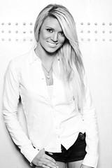 Lindsay (W. Sierra Hoffman) Tags: portrait white black girl monochrome smile contrast canon blonde 5d highkey seniorpicture strobe vagabond mark2 alienbees b400 b800 strobist cybersyncs