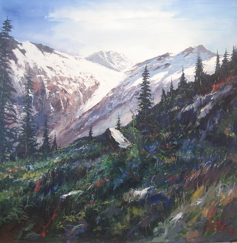 Ski Route - Painting - Realism