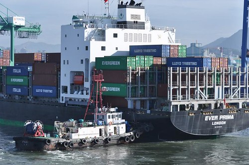 Tug Docking Containership (Hwang Ryong No. 9 and Ever Prima), Busan, South Korea