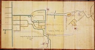 """Disegno dello """"Stato delle acque"""" riguardante il territorio di un podere del Luogo pio della Misericordia - 1619"""
