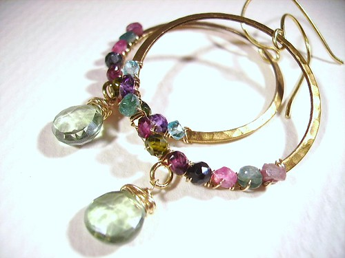 Tourmaline Topaz Brass Vermeil Earrings by OBTP-Jewelry