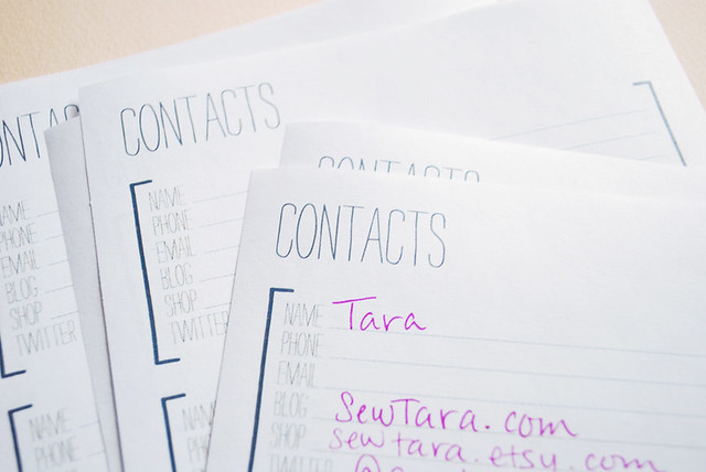Blog Contacts Printable Page