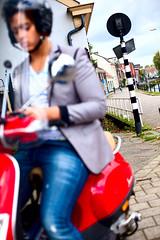 Zeedijk, Utrecht (Pim Geerts) Tags: street blue red color canon photography eos blauw helmet scooter 50mm14 brug rood oude helm gracht weerdsingel kleur jongen straatfotografie 5dm2 straatplaat