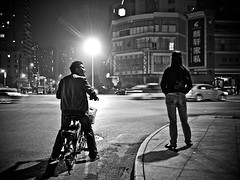 The art of quarreling (imsuri) Tags: road light shadow people blackandwhite man girl night corner couple chinese lifestyle streetlife panasonic nightlight 20mm 365 lover quarreling nanning guangxi f17  project365 streetsnap microfourthirds lifeatyle fighttoeachother
