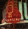 Horseshoe Casino (tobysx70) Tags: polaroid sx70 sonar emulsion manipulation time zero tz instant film horseshoe casino fremont street downtown las vegas nevada nv experience ambling neon sign light red turquoise lit illuminated night nocturnal binions gambling hall hotel toby hancock photography