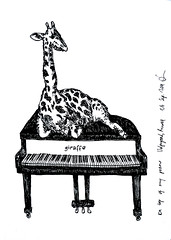 On top of my piano (k.dmitrijewa) Tags: blackandwhite bw inspiration illustration graphic piano grand giraffe    pennyjey sleepingontopofthings