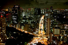 Japan - Skyline of Tokyo (Thorio) Tags: street city longexposure travel sky urban tower japan skyline night skyscraper canon tokyo asia skyscrapers towers cities skylines uptown  metropolis  luci citta urbain