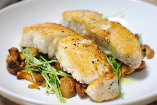 6193176863 1e2ddca983 Pan Roasted Halibut, Chanterelles with Pea Shoots