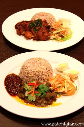 Nasi Dagang with Beef Rendang (bottom) and Nasi Dagang with Ayam Berempah (top)Herbs & Spices