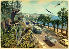 Jurassic Riviera (Invading The Vintage - Franco Brambilla) Tags: art illustration riviera pop delorean dinosaurs backtothefuture sanremo