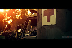 Medic (Jeff Krol) Tags: autumn light sunset sun cinema dutch car canon army eos bokeh military special medical falcon flare medic calling cinematic hoogeveen f28 drenthe leger 70200mm oefening 70200l landmacht ef70200mmf28lu