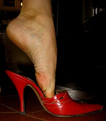 Sara dipping (al_garcia) Tags: feet high shoes long sandals heel soles smelly mule toenails sabot calloused