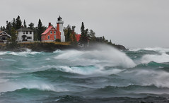 """September Gale""  Eagle Harbor Lighthouse - Eagle Harbor , Michigan (Michigan Nut) Tags: sky usa lighthouse storm art nature clouds america print landscape geotagged midwest waves wind michigan stormy landmark gale spray lakesuperior keweenawpeninsula johnmccormick eagleharborlighthouse"