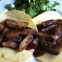 Spiced seitan tacos with bourbon reduction