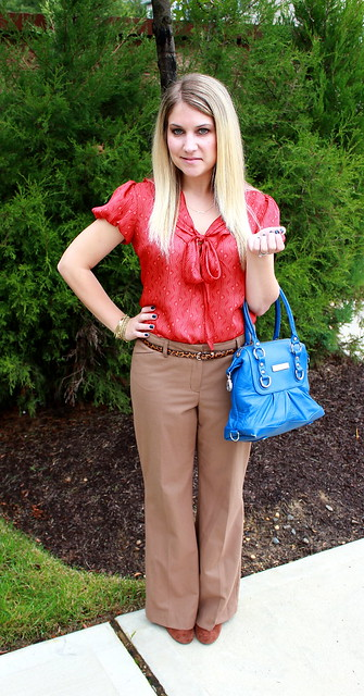 red tie neck blouse work outfit