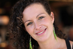 Portrait of Fabiola (schermpeter42) Tags: portrait girl female spain curls greeneyes arenal javea carnavalcafe