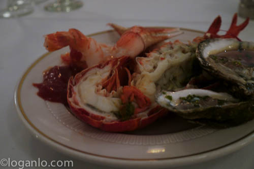 Lobster and oysters on the half-shell in downtown New York City NYC