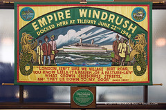 Empire Windrush banner & green plaque (© Freddie) Tags: essex thurrock tilbury empire windrush greenplaque migration immigration immigrants westindies banner flag caribbean jamaica fjroll ©freddie