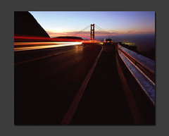 Conzelman Dawn (RZ68) Tags: road street morning bridge light red white reflection tower film fog sunrise mediumformat reflections dawn golden gate san francisco long exposure marin north guard foggy trails rail velvia goldengatebridge goldengate headlands 6x7 streaks provia rd ggnra e100 conzelman rz68