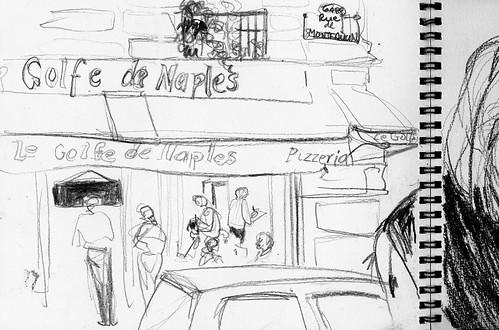 Cecelia at lunch, Paris: left side.