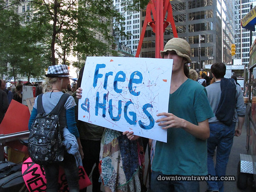 NYC Occupy Wall Street Rally Oct 8 2011 free hugs