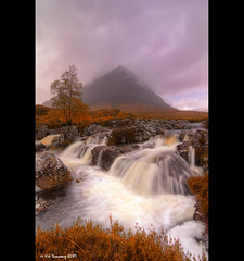 Glencoe (Kit Downey) Tags: autumn mountain storm tree fall water rain clouds canon lens landscape eos rebel scotland waterfall highlands october kiss rocks long angle heather wide munroe scottish super spray tokina glencoe multiple kit iconic f28 autumnal hdr mor buachaille x4 2010 etive exposures downey stob dearg photomatix 550d exosure t2i 1116mm