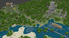 Ann's Bear & Treehouse and Robs Castle, Mech and Boat (Gnu2000) Tags: render blender minecraft mcobj