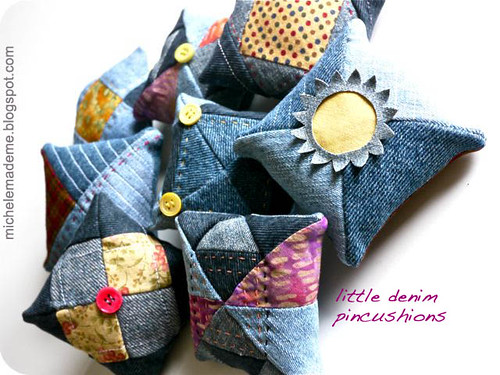 little denim pincushions