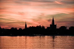 DSC_2283.jpg (richiewinter) Tags: sunset red lake black church silhouette contrast reflections germany switzerland evening twilight haze bodensee konstanz steeples constance