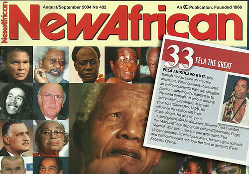 Fela Kuti in New African magazine 100 greatest Africans of all the time