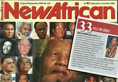 Fela Kuti in New African magazine 100 greatest...